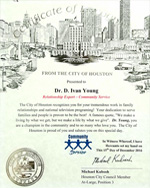 Dr. D. Ivan Young Certificate of Recognition from the City of Houston